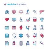 Medicin och medicinsk utrustning fodrar vektorsymboler med plana beståndsdelar stock illustrationer