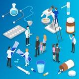 Medicin- och sjukvårdbegrepp Doktorn gör medicinsk forskning vektor illustrationer