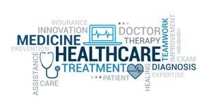 Medicin- och sjukvårdetikettsmoln stock illustrationer