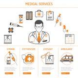 Medicin- och sjukvårdinfographics Royaltyfri Bild