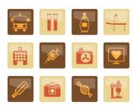Medicin- och sjukvårdsymboler över brun bakgrund royaltyfri illustrationer