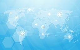 Medicin och vetenskap med världskartan Abstrakta digitala sexhörningar för hög tech på blå bakgrund Royaltyfri Bild