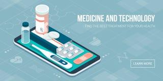Medicin, sjukvård och terapi app royaltyfri illustrationer