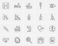 Medicin skissar symbolsuppsättningen stock illustrationer