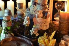 Medicina alternativa ou tema de Dia das Bruxas Imagens de Stock