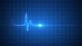 Medicina azul animada del pulso del corazón de la exhibición del ECG stock de ilustración
