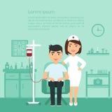 medicina Bandiera medica Ritardi e braccia Un infermiere o un medico alla clinica ed il paziente erogatore Progettazione piana Fotografia Stock