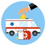 Medicina comercial, el concepto de medicina pagada ilustración del vector