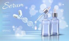 Medicina cosmética de la cápsula de la droga de la falta de definición del cielo azul del cuidado de la cara del maquillaje del p stock de ilustración