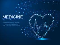 Medicina, cuore con un vortice Illustrazione poligonale astratta su fondo blu scuro con le stelle con destruct immagini stock libere da diritti