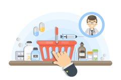 Medicina de compra em linha ilustração royalty free