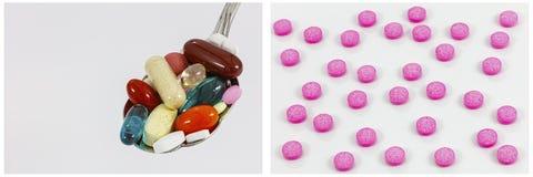 Medicina del collage de las píldoras del rosa de la cuchara de las drogas Fotografía de archivo