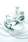 Medicina del liquido e della mascherina con un nebulizzatore. Fotografie Stock
