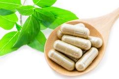 Medicina della capsula dell'erba in cucchiaio di legno Fotografia Stock Libera da Diritti