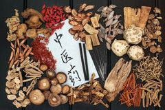 Medicina di erbe cinese Fotografie Stock
