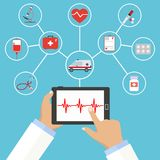 Medicina disponible del ordenador en un fondo azul ilustración del vector