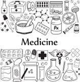 Medicina e iconos farmacéuticos de la escritura del garabato stock de ilustración