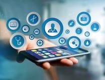 Medicina ed icona generale di sanità visualizzate su una tecnologia i Immagine Stock Libera da Diritti