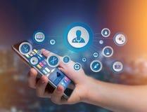 Medicina ed icona generale di sanità visualizzate su una tecnologia i Fotografia Stock