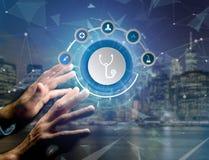 Medicina ed icona generale di sanità visualizzate su una tecnologia i Fotografia Stock Libera da Diritti