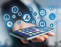 Medicina ed icona generale di sanità visualizzate su una tecnologia i Immagini Stock