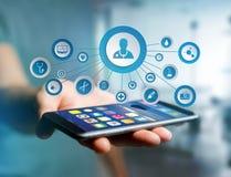 Medicina ed icona generale di sanità visualizzate su una tecnologia i Immagini Stock Libere da Diritti