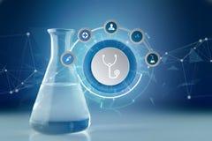 Medicina ed icona generale di sanità visualizzate su una tecnologia m. Immagine Stock Libera da Diritti