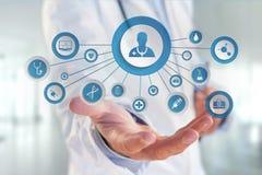 Medicina ed icona generale di sanità visualizzate su una tecnologia m. Fotografia Stock