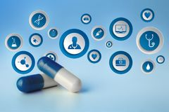 Medicina ed icona generale di sanità visualizzate su una tecnologia m. Fotografie Stock Libere da Diritti