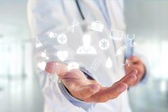 Medicina ed icona generale di sanità visualizzate su una tecnologia m. Immagini Stock