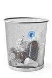 Medicina en cubo de basura Fotografía de archivo