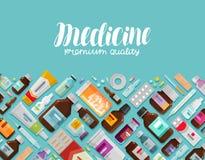 Medicina, farmácia, bandeira da farmacologia Medicamentação, droga, garrafas e ícones dos comprimidos Ilustração do vetor ilustração royalty free