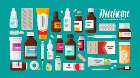 Medicina, farmacia, sistema del hospital de drogas con las etiquetas Medicación, concepto del producto farmacéutico Ilustración d Imagenes de archivo