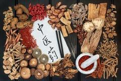 Medicina herbaria del chino tradicional Imagenes de archivo