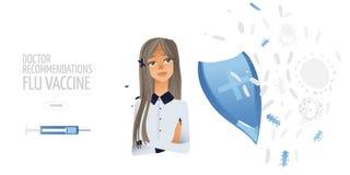 Medicina, ilustração lisa do conceito dos cuidados médicos O médico dos desenhos animados protege a saúde paciente Elemento do pr ilustração stock