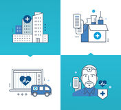 Medicina moderna, tecnología, herramientas, métodos de tratamiento, medicinas stock de ilustración