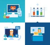 Medicina moderna, tecnología, métodos de tratamiento, y una consulta en línea libre illustration