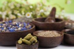 Medicina natural, fondo de madera de la tabla Imágenes de archivo libres de regalías