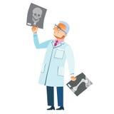 Medicina ortopédica del cráneo de la fractura de la radiografía del doctor Fotos de archivo