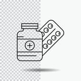 medicina, píldora, cápsula, drogas, línea icono de la tableta en fondo transparente Ejemplo negro del vector del icono stock de ilustración