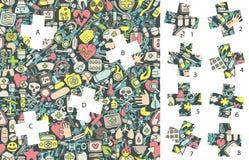 Medicina: Pedazos del partido, juego visual ¡Solución en capa ocultada! Fotografía de archivo libre de regalías