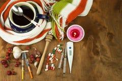 Medicina tradizionale contro i freddo e l'influenza Tè del cinorrodo Trattamento della malattia Fotografie Stock