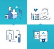 Medicina y tecnología modernas, métodos de tratamiento, protección, seguridad libre illustration