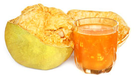 Medicinal Bael fruit with juice Royalty Free Stock Photography
