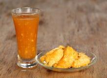 Medicinal Bael fruit with juice Royalty Free Stock Photos