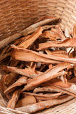 Medicinal bark in basket Stock Photo