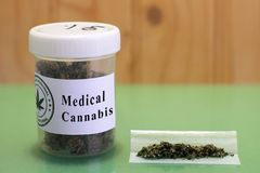 Dose of therapeutic cannabis in a joint. Medicinal cannabis buds stuck in a jar. A therapeutic way to heal the pains royalty free stock photography