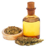 Medicinal cannabis with extract oil in a bottle Royalty Free Stock Image