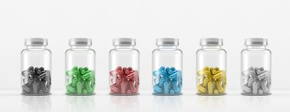 Medicinal cans with colored pills. 3D illustration. Medical can for pills. 3D illustration. Glass bottles with colored capsules on white background Stock Images