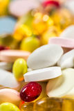 Medicinal drugs, pills and capsules and tablets on white background Stock Photo